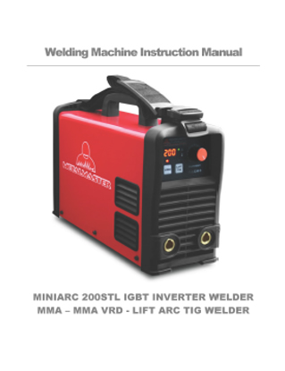 Miniarc 205STL Inverter Welder Manual